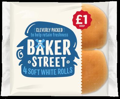 Baker Street 4 Soft White Rolls PM £1