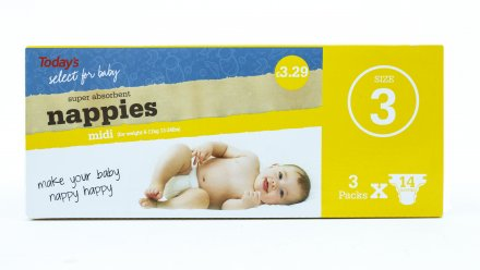 Todays Nappy Size 3 PM £3.29