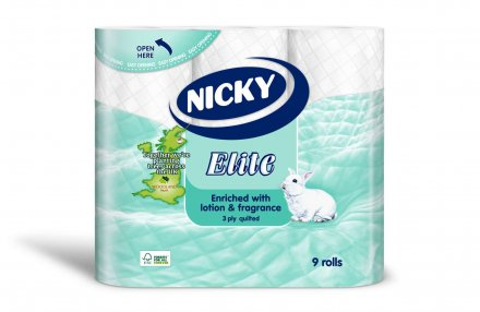 Nicky Elite 3-Ply Quilted White Toilet Tissue - 9 Pack