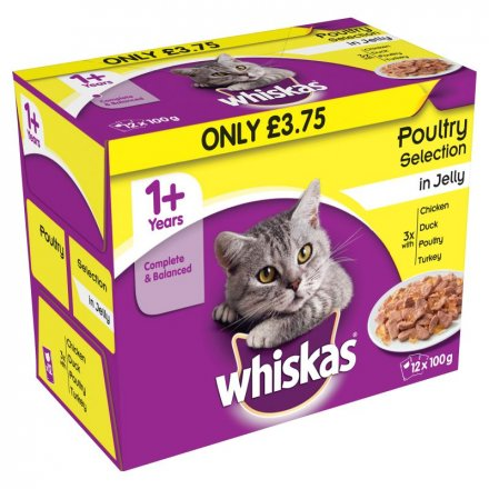 Whiskas 1+ Poultry Selection In Jelly Pouch PM £3.75