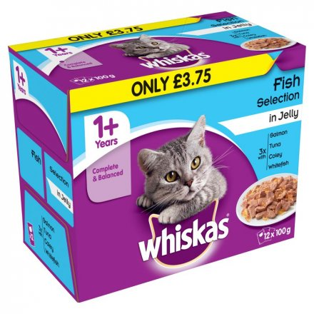 Whiskas 1+ Fish Selection In Jelly Pouch PM £3.75