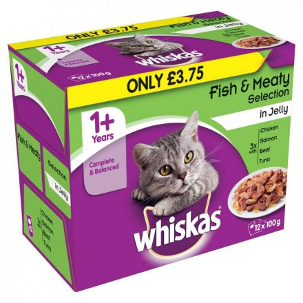 Whiskas 1+ Fish & Meaty Select In Jelly Pouch PM £3.75
