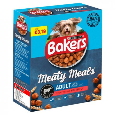 Bakers Beef Meaty Meals Dog Food PM £3.19