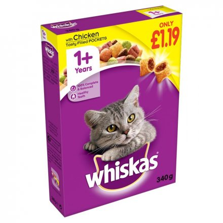 Whiskas 1+Cat Complete Dry With Chicken PM £1.19