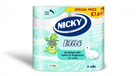 Nicky Elite 3-Ply Quilted White Toilet Tissue PM £1.69