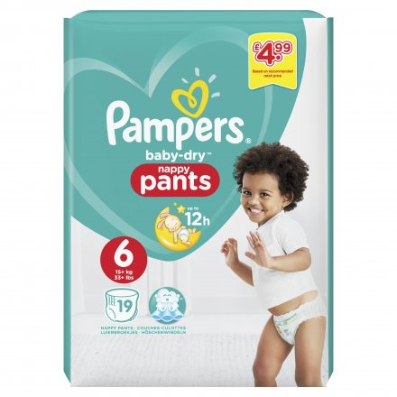 Pampers Baby Dry Nappy Pants S6 PM £4.99