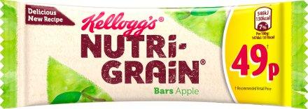 Kellogg's Nutrigrain Fruity Apple Breakfast Bar PM 49p