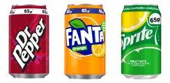 Dr Pepper/ Fanta Sprite/ Lilt Cans PM 65p